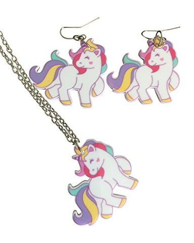 Acrylic Unicorn Necklace and Matching Earrings