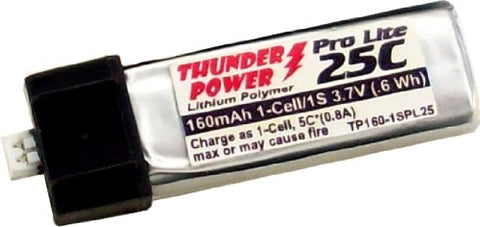 Thunder Power RC 160mAh 1-Cell/1S 3.7V G6 Pro Lite 25C LiPo Battery with Ultra-Micro Connector