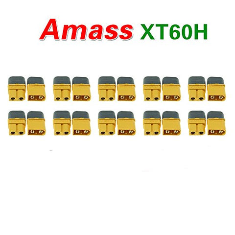 Amass 10 Pair XT60H Bullet Connector Plug Upgrated of XT60 Sheath Female & Male Gold Plated For RC Parts