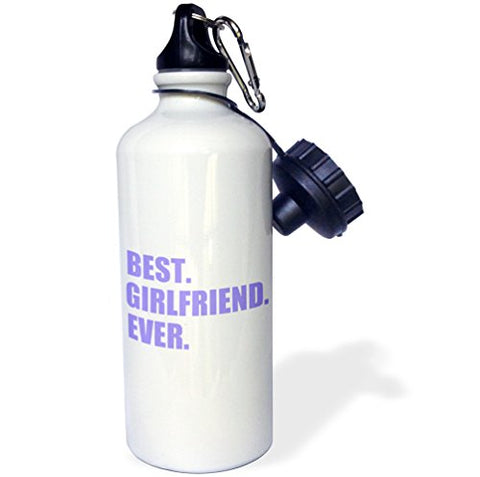 3Drose Wb_179721_1 Purple Best Girlfriend Ever Text-Anniversary Valentines Day Gift Sports Water Bottle, 21 Oz, White