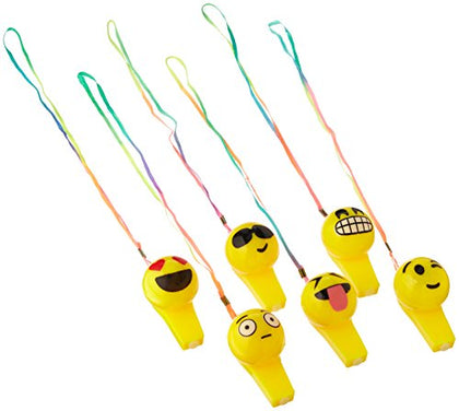 LIGHT-UP EMOTICON EMOJI FACE WHISTLE NECKLACE - 1 DOZEN