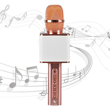 Karaoke Microphone Bluetooth YS-10 Karaoke Microphone Wireless USB Karaoke Microphone Real 2200MAH TF Record Support Compatible IOS Iphone Android Smartphone PC laptop by SUYOSD(White Rose)