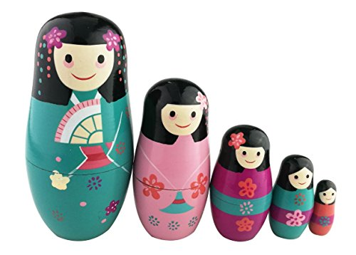Cute Little Girl With Flower Pattern Varnished Wooden Handmade Russian Nesting Dolls Matryoshka Dolls Set 10 Pieces For Kids Toy Birthday Christmas Gift Home Decoration