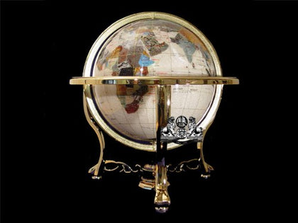 14  Mother of Pearl GEMSTONE GLOBE with GOLD Stand