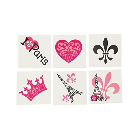 Paris Temporary Tattoos - 72 pcs