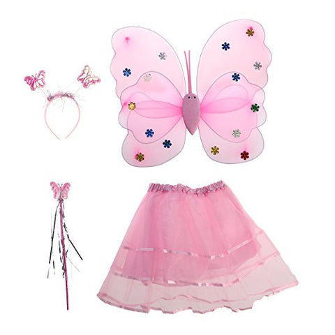 Tinksky 4pcs/set Angle Girls Fairy Costumes Dual-layer Headband Wand Tutu Skirt Set, Christmas Birthday Gift for Children (Pink)
