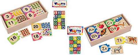 Melissa & Doug Self-Correcting Number Puzzles and Letter Puzzles Bundle with Wooden Blocks