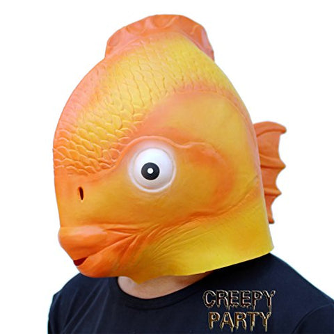 CreepyParty Deluxe Novelty Halloween Costume Party Latex Head GoldFish mask