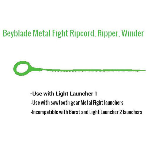 7 Beyblade ripcords, Sawtooth style, 10 1/2  long - Green