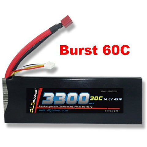 DLG 14.8V 3300mAh 4S 30C Burst 60C LiPO Li-Po High-Discharge Rate Powerful Battery with Dean's T Plug