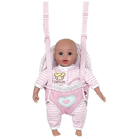 Adora GiggleTime 15 Girl Vinyl Weighted Soft Body Toy Play Baby Doll with Laughing Giggles and Harnessed Wrap Carrier Holder for Children 2+