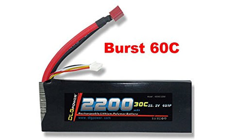 DLG 30C Burst 60C 6S 2200mAh 22.2V LiPO Li-Po High-Discharge Rate Powerful Battery with Dean's T Plug