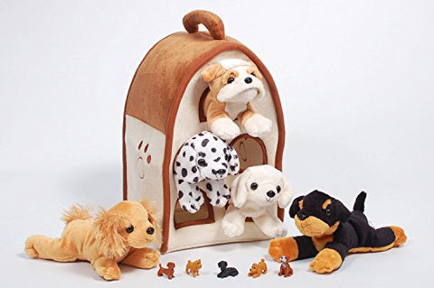 Special Edition Unipak 12  Plush Dog House with 5 Stuffed Animal Dogs featuring a Bulldog and 5 Bonus Mini Dog Figures