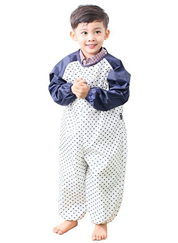 Plie Little Boys' Waterproof All-In-One Solid Sleeve Art Smock Large Navy Heart