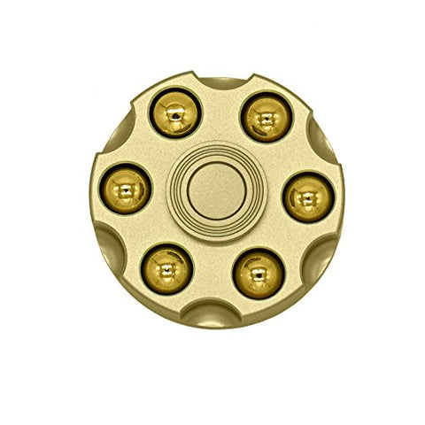 ICE FROG Metal Revolver Spinner Fidget, Solid Brass Metal Toy Surface Finish Hand Finger Spinners Focus Fingertip Spinner Toys - For ADD, ADHD, Anxiety, Autism Adult Children - Gun