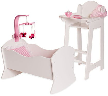 18 Inch Doll Furniture High Chair and Cradle Set w/ Accessories - Playtime by Eimmie Collection