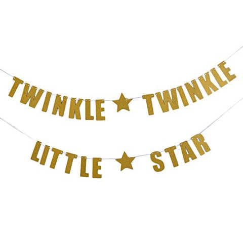 Tinksky TWINKLE TWINKLE LITTLE STAR Banner Baby Shower Birthday Party Decoration (Gold)