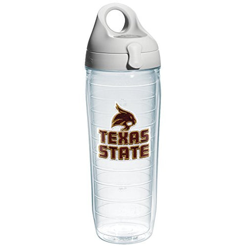 Tervis Texas State University Emblem Individual Water Bottle With Gray Lid, 24 Oz, Clear