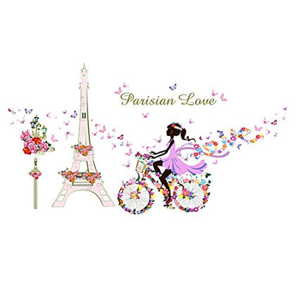Uxcell Tower Bicycle Girl Flower Diy Wall Stickers Removable Home Decoration Living Room Bedroom Girl'S Room Decor Self Adhesive Creative Art Mural Decal