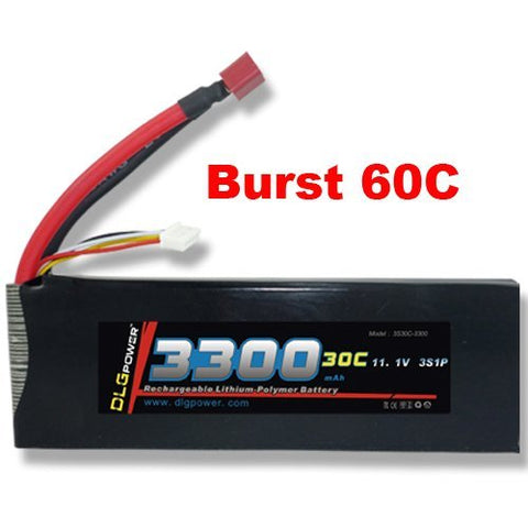 DLG 30C Burst 60C 3S 3300mAh 11.1V LiPO Li-Po High-Discharge Rate Powerful Battery with Dean's T Plug