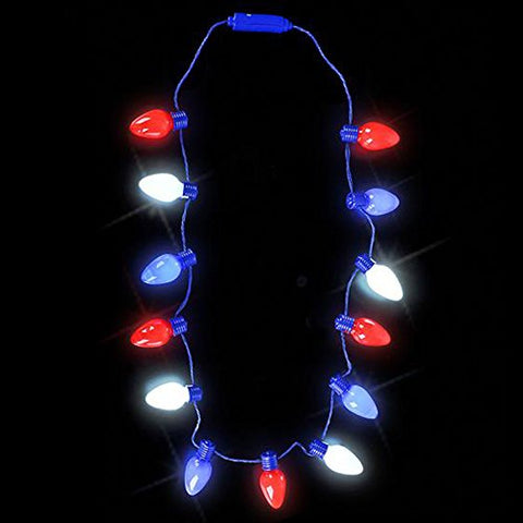 Rhode Island Novelty 20  Light-up Patriotic Bulb Necklace Childrens Pretend Play