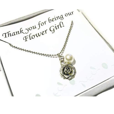 Thank You For Being Our Flower Girl Gift With Necklace And Printed Card, Flower Girl Gift For Wedding