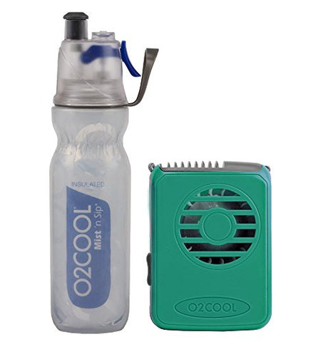 O2Cool Arcticsqueeze Insulated Mist 'N Sip Squeeze Bottle 20 Oz - Blue With O2Cool Fan - Teal Bundle