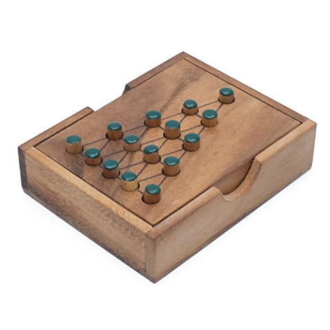 Wooden Solitaire Tree: Handmade & Organic Traditional Wood Peg Game for Adults from SiamMandalay with SM Gift Box(Pictured)