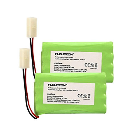 FLOUREON 9.6V 1800mAh 8 Cell Ni-MH Rechargeable Replacement RC Battery Pack with Tamiya Connector for RC Cars Boat Robot Security(2 PCs)