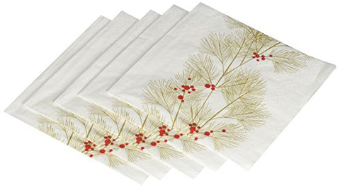 Paperproducts Design 7510 Holiday Paper Napkin For Cocktail, 5 By 5-Inch, Winter Branch, Gold