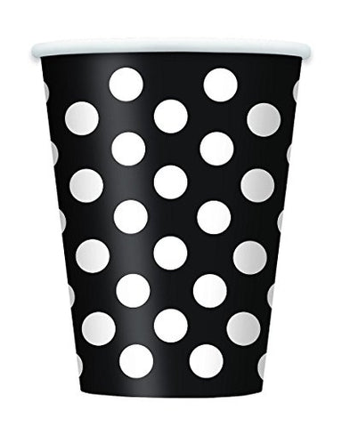 Black Polka Dot 12 Oz. Cups