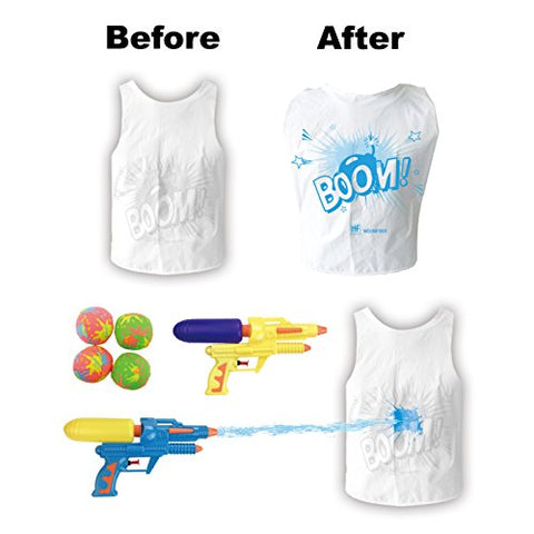 [2-Pack] Water Battle Combat Wars - 2 Person Water Fighting Game with Color Changing Vests, Water Guns and Splash Bombs
