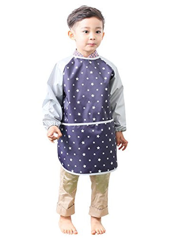 Plie Little Boys' Waterproof Art Smock With Sleeves Small Navy Star