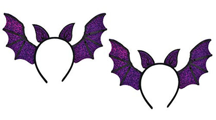 Halloween Batwing Headband Boppers 2 Pair Purple