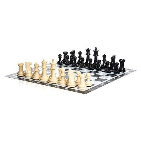 Uber Games Large Chess Pieces and Chess Mat - Black and White - Plastic - 8 inch King