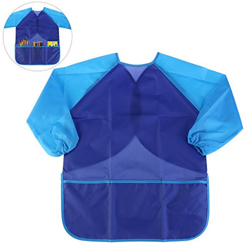 NUOLUX Painting Apron Kids Waterproof Long-sleeved Art Smock Toddler (Blue)