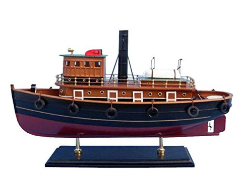 Hampton Nautical Wooden River Rat Tugboat Model Ship