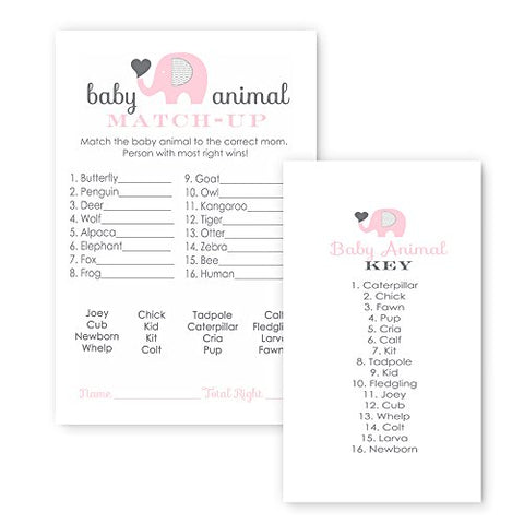 Pink Elephant Baby Shower Game Animal Match