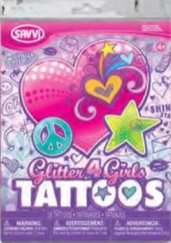 Savvi Glitter 4 Girls Tattoos ~ Peace, Love, and Animals (2013; Over 50 Temporary Tattoos)