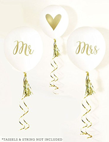 White and Gold MR & MRS Party Balloons (set of 3)