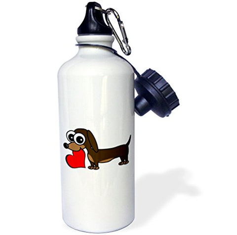 3Drose Wb_6149_1 Dachshund Has My Heart Sports Water Bottle, 21 Oz, White