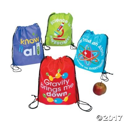 Science Party Drawstring Backpacks - 12 ct