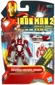 Marvel Iron Man 2 Movie 3 3/4  Concept Series Iron Man Inferno Mission Armor