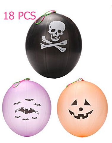18 PCS Punch Balls Punmkin Bat Skull Design - Halloween Party Favors Decoration Supplies