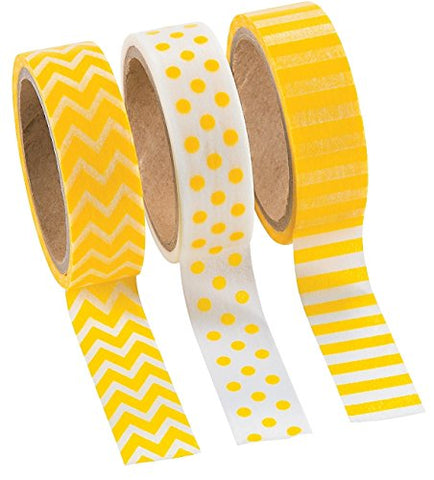 Fun Express Yellow Washi Tape Set (3 Rolls per Unit), 16'
