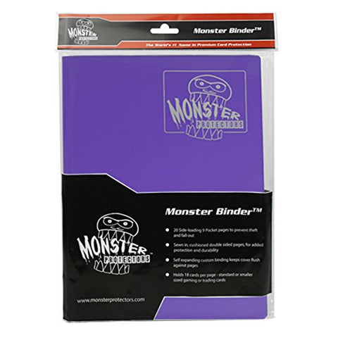 Monster Binder - 9 Pocket Trading Card Album - Matte Purple (Anti-theft Pockets Hold 360+ Yugioh, Pokemon, Magic the Gathering Cards)