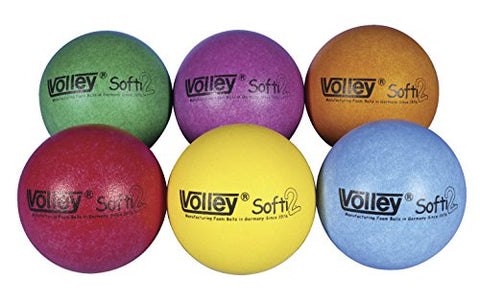 Volley SuperSkin 2 Softi Very Low Bounce Balls - 6 1/4 inch - Set of 6 - Assorted Colors