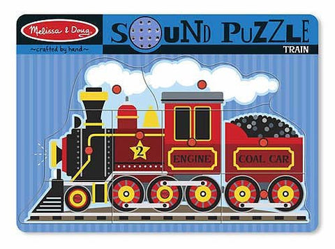 Melissa & Doug Train Theme Sound Puzzle & 1 Scratch Art Mini-Pad Bundle (00729)