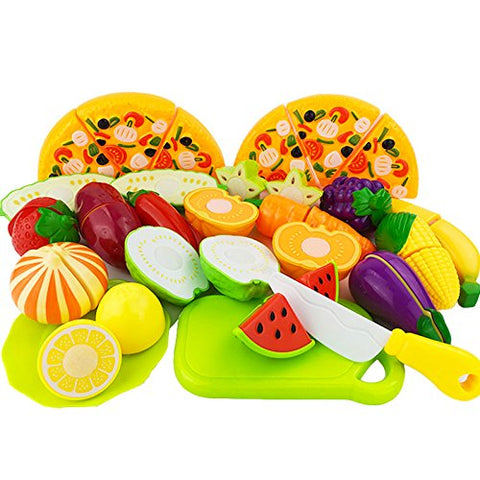 ISusser 24pcs NEW Cutting Fruit Vegetable Kitchen Pretend Food Play Set Educational Toy For Children Kids