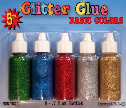 Glitter Glue Set of 5 Basic Colors Squeeze Bottles Non-Toxic Ages 6 & Up